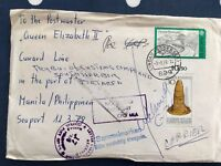 Germany letter Queen Elizabeth II ship in Manila fascinating item great pmks