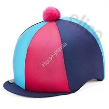 TURQUOISE/NAVY BLUE/PINK RIDING HAT SILK COVER FOR JOCKEY SKULL CAPS ONE SIZE