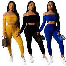 Fashion Women Solid Boat Neck Off Shoulder Long Sleeve Bodycon Club Outfits 2pcs
