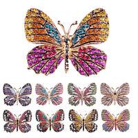Rhinestone Butterfly Brooch Pin Gold Women Dress Wedding Bridal Brooch Pin H&T