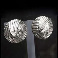 BIG CIRCLE LINEE Art Deco Orecchini a Clip VINTAGE argento antico placcato clip