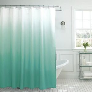 Creative Home Ideas Ombre Textured Shower Curtain with Beaded Rings Marine Blue