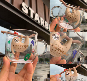Limited Starbucks Water Cup Summer Sloth Type Silicone Tea Strainer Glass Cup
