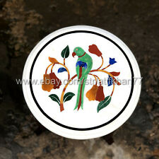 Round Side Table White Marble Inlay Parrot Table Top