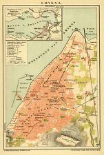 Izmir, Smyrna, Stadtplan, Original-Chromolithographie von 1895