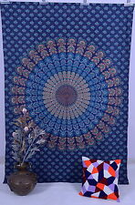 Indian Twin Tapestry Blue Bedcover Hippie Bed Decor Peacock Mandala Wall Hanging