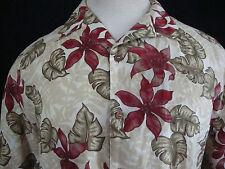 Mens Hawaiian Camp Shirt 100% Linen Extra Large XL S/S Red Green Beige White EUC