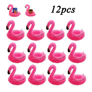 12Pcs Flamingo Float Cup Holder Pink Inflatable Coasters For Swimming Pool