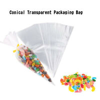 Clear Cone Plastic Cone Bags 100/200 PCS With Little Assorted Ties Transparent B
