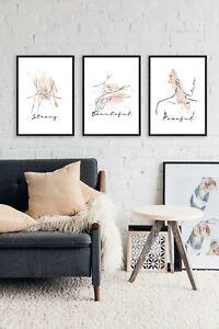 watercolour  Line Drawing Woman Wall Art Prints Set of 3 prints Home Decor Print