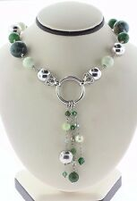 """Sterling Silver 925 Multi Stone Green Beaded Necklace with Chain Dangles - 18"""""""