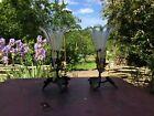 Elegant Pair Of Vases Cornet Crystal XIX Th Mount Bronze Sheets Of Vines