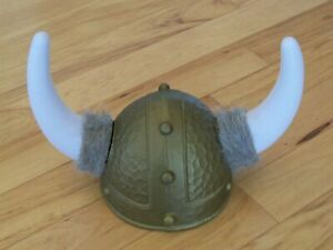 Plastic Viking Helmet with Horns & Fur - Halloween Costume Party Hat Gold White