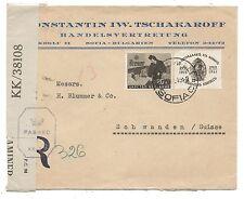 WW2 Registered Censored Cover Bulgaria To Switzerland Via Palestine 1945