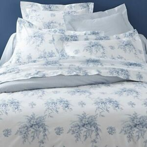 $220 Anne De Solene Paris Evanescence Collection Percale KING Fitted Sheet Blue