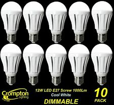 10 x DIMMABLE LED 12W Pearl Light Globes / Bulbs A60 GLS E27 Screw Cool White