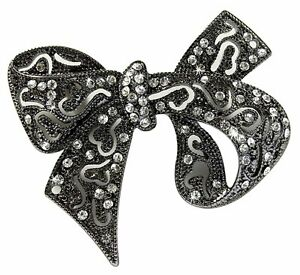 Crystal and Faux Hematite Bow Brooch measures 6.3cm