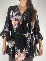 CITY CHIC Black Floral 3/4 Bell Sleeve Kimono Wrap Top Plus Size L AU 20 Party