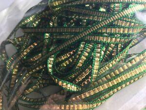 Thin metallic Christmas ribbon Green Gold Silver Black Blue SOLD PER 2 METERS uk