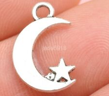 30pcs Tibetan silver charms  the moon star Pendant beaded Jewelry DIY Findings
