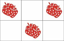20 Strawberries Square Tile Transfer Stickers Bathroom Kitchen Decal Waterproof