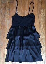 Theory Silk Dress Size Large, Black Silk Cocktail Dress, Silk Tiered Dress