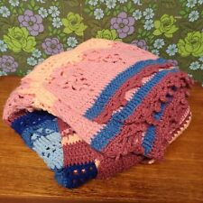 """Vintage Shabby Pink Blue Pretty Knitted Crochet Wool Blanket / Throw 38"""" x 78"""""""