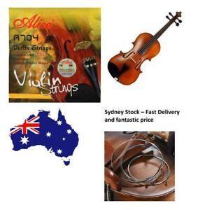 Violin Strings Set 4/4 E-A-D-G Alice 704  Fiddle String Steel Core Sydney Stock