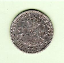 ESPAGNE ALFONSO XIII  50 CENTIMOS 1896  RARE