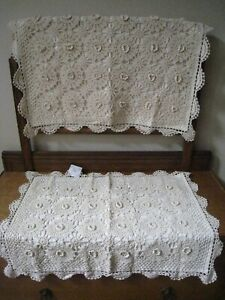 VINTAGE ~CROCHET LACE SCALLOPED LT. BEIGE (PAIR ) STANDARD SHAMS #97
