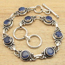 925 Silver Plated Solid Copper Jewelry, Simulated SAPPHIRE Bracelet 7.5 Inch