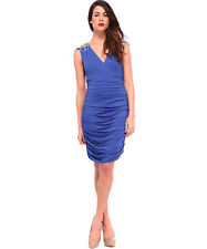 FOREVER UNIQUE GENNA BLUE EMBELLISHED RUCHED SHOULDER TOWIE BODYCON DRESS 6 8!