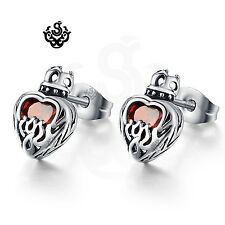 Silver stud red crystal stainless steel gothic crown heart earrings