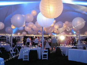"6x 12x White Round Paper Lanterns 8"" 10"" 12"" 16"" Wedding + LED Decor Party Light"
