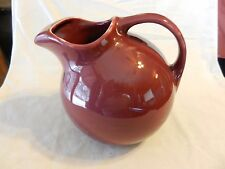 Hall Ceramic Ball Pitcher USA Signed #633 Mid Century Maroon ice guard