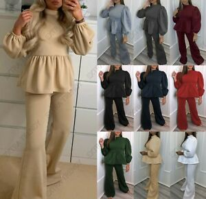 Women's Frill Peplum Puff Sleeve Two Piece Suit Co ord Wide Leg Lounge Wear Set