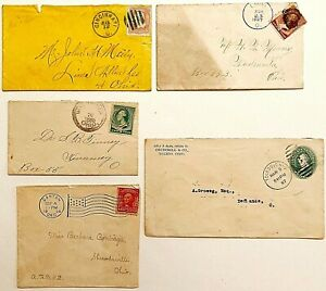 5 COVERS SENT FROM AND DELIVERED TO OHIO TOWNS & CITIES, DATED 1866 TO 1908