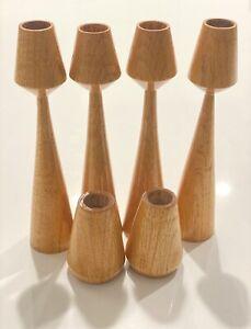 MID-CENTURY DANISH MODERN Wood Walnut Tall CANDLE HOLDERS MCM Set 6