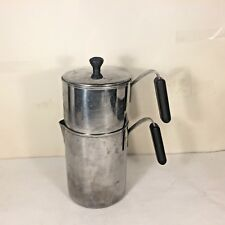 Vtg American Stainless Kitchen Company Double Bolier Steamer Pitcher Pot w Lid