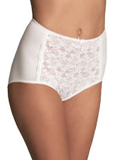 M & S Size 16 cotton blend full briefs knickers panties lace front White