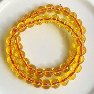 8mm 2Pcs Natural Yellow Citrine Quartz Crystal Beads Bracelet AAA B2