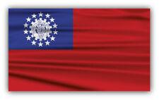 10cm!Aufkleber-Folie Waschanlagenfest Myanmar Burma wellige Flagge Fahne H702