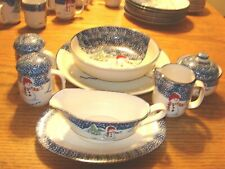 Thomson Pottery Snowman Dinnerware Serving Set Chop Plate Serving Bowl + 8 Piece