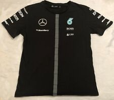 AMG Petronas Mercedes F1 Formula One Driver Men's M Black T-Shirt Hugo Boss VGUC