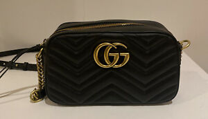Gucci Black Leather GG Marmont Small Matalasse Shoulder Bag