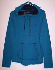 Hurley Hoodie Sweatshirt M Turquoise Black Pinstripe Long Sleeve Shirt Men's M