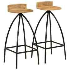 vidaXL 2x Solid Mango Wood Bar Chairs 40x40x82cm Kitchen Dining Room Stools
