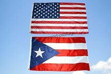 LOT 3' X 5' U.S. AMERICAN & US PUERTO RICO RICAN STATE FLAG 3X5