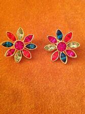 Vintage Graziano Gold Tone Blue Pink Green Rhinestone Flower Earrings