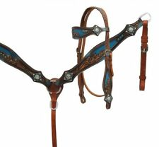 Western Horse Bling! Leather Tack Set Horse Bridle w/ Reins + Breast Collar